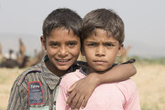 Two young boy in Pushkar Camel Mela . India Royalty Free Stock Images