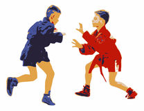 Two Young Boys Competing In A Sport Sambo Contest. Illustration isolated on white background. Red and blue combat garments. Concept for self defense technique Stock Photography