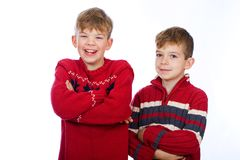 Two young boys having fun Royalty Free Stock Image
