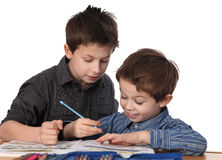 Two young boys learning Royalty Free Stock Images