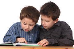 Two young boys learning Stock Photography