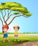 Two young boys near the road. Illustration of two young boys near the road Stock Image