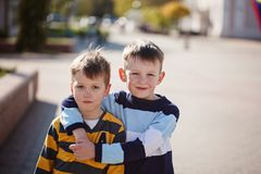 Free Two Young Boys Outdoors Smiling And Laugh. Concept Friendship Stock Images - 110075234