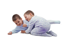 Two young boys playing Stock Image