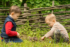 Two young boys playing at lighting a campfire Stock Images