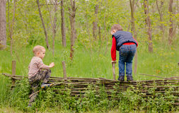 Two young boys playing on a rustic fence Stock Image