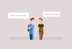 Two Young Boys Students Speaking Friends Communication Royalty Free Stock Images