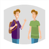 Two Young Boys Students Speaking Friends Communication Stock Photos