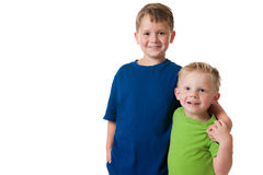 Two young boys on white background Royalty Free Stock Image