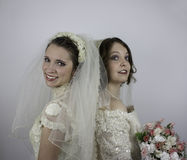 Two young brides standing back to back Stock Image