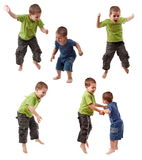 Two young brothers jumping Royalty Free Stock Photos