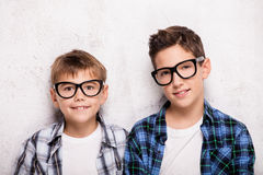 Two young brothers posing. Royalty Free Stock Image