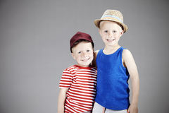 Two young brothers in studio Royalty Free Stock Photography