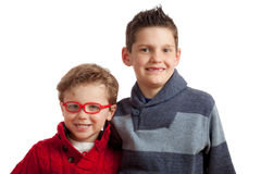 Two Young Brothers. Two brothers together wearing sweaters Royalty Free Stock Photos