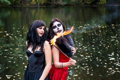 Two young brunettes women with makeup like a Halloween skull and. Halloween witch makeup stands with a torch in a red and black dresses in front of the autumn Royalty Free Stock Photography