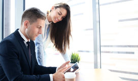 Two young business partners Stock Photo