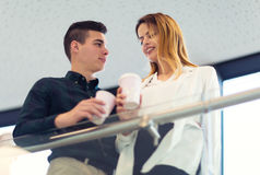 Two young business people on a coffee break Stock Photos