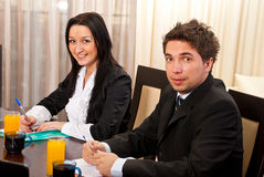 Two young business people at meeting Royalty Free Stock Images