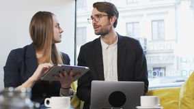 Two Young Business People During a Nice Conversation stock footage