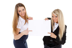 Business  women with empty board for the text. Stock Image