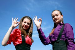 Two young businessladies woth okay Stock Photography