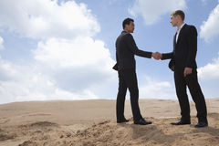 Two young businessmen shaking hands in the middle of the desert, full length Stock Photo