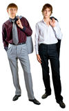 Two young businessmen on white Royalty Free Stock Image