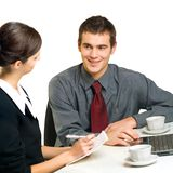 Two young businesspeople stock photography