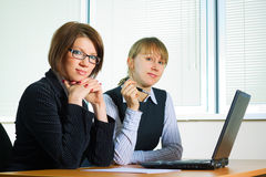 Two young businesswoman. Royalty Free Stock Photo