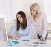 Two young businesswoman looking disappointed at the screen in th Royalty Free Stock Images