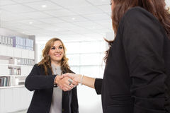 Two young businesswoman making a deal and shaking hands Stock Photos