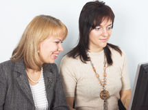 Two young businesswomen Stock Photos