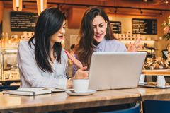 Two young businesswomen,bloggers, wearing in shirts are sitting in cafe at table and using laptop, working, studying Royalty Free Stock Photos