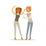 Two young businesswomen characters fighting and quarreling. Two young businesswomen characters fighting and quarreling, negative emotions concept vector Stock Photos