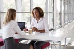 Two young businesswomen at a meeting talking, close up royalty free stock image