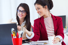 Two young businesswomen working with laptop in her office. Royalty Free Stock Photos