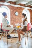 Business counseling. Two young casual businesswomen sitting on chairs in front of one another and discussing organization moments or planning work royalty free stock image