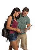 Two young Casual Dressed College Student Isolated Stock Images
