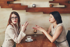 Two young caucasian businesswomen with laptop, notebook. Women in cafe Royalty Free Stock Image