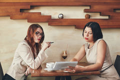 Two young caucasian businesswomen with notebook. Women in cafe Stock Photography