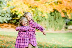 Two Young Caucasian Sisters stock image