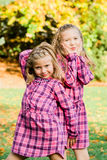Two Young Caucasian Sisters stock images