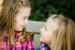 Two Young Caucasian Sisters stock photo