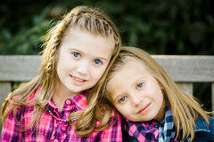 Two Young Caucasian Sisters royalty free stock photo