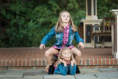Two Young Caucasian Sisters royalty free stock images