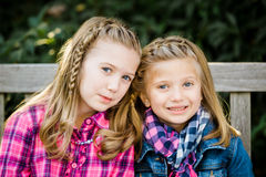 Two Young Caucasian Sisters royalty free stock photos