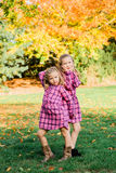Two Young Caucasian Sisters Strike a Pose in Matching Pink Flannel Dresses royalty free stock image