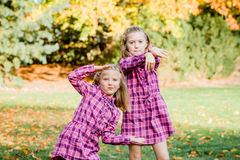 Two Young Caucasian Sisters Strike a Pose in Matching Pink Flannel Dresses. Two young blonde caucasian sisters playing outside at park. Girls wearing matching stock photos