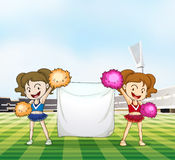Two young cheerers with an empty banner. Illustration of the two young cheerers with an empty banner Royalty Free Stock Photos