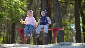 Two young children eating bananas sitting on the bench. Outdoors stock video